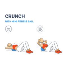 Girl doing crunch exercise with mini fit ball vector