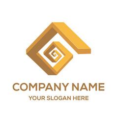 Golden staircase logo design inspiration vector