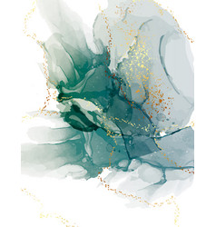 Green watercolor abstract teal background vector