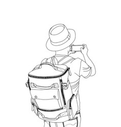 guy with the backpack conceptual travel vector image