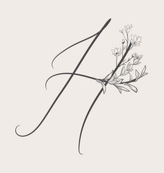 Hand drawn flowered h monogram and logo vector