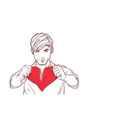 Handsome man tearing red heart shape apart vector