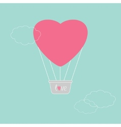 Hot air balloon in shape of heart Dash line clouds vector image