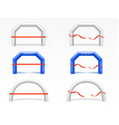 Inflatable arch with red ribbon for sport events vector
