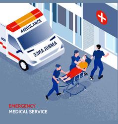 Isometric ambulance vector