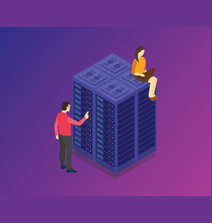 isometric server technology with people character vector image