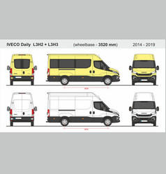 Iveco daily van l3h2 and l3h3 2014-2019 vector