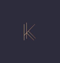 letter k logo monogram minimal style identity vector image