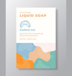 liquid soap package label template abstract vector image