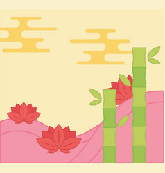 Lotus flwoers and bamboo oriental element vector