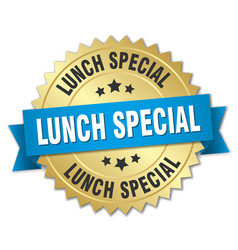 Lunch special round isolated gold badge vector