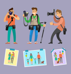 Modern photographers with professional equipment vector