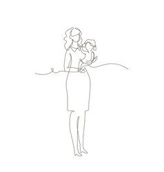 mother with a child - one line design style vector image
