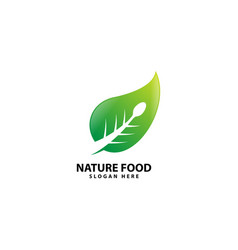 Nature food logo with spoon vector