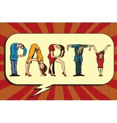 Party the inscription of human figures vector image