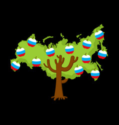 patriotic apple tree russia map apples russian vector image