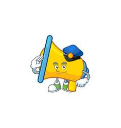 Police yellow loudspeaker cartoon character for vector