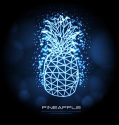 Polygonal tirangle fruit pineapple neon sign vector