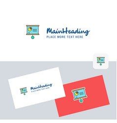 presentation chart logotype with business card vector image