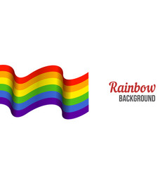 Rainbow flag background waving lgbt flag on white vector