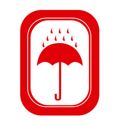 Red rain with umbrella emblem icon vector