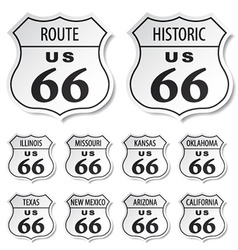 Route 66 black and white stickers vector