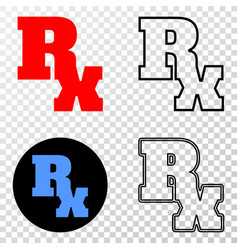 rx symbol eps icon with contour version vector image