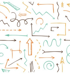 Seamless pattern sketchy arrows vector