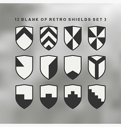 Set shields black and white 3 vector
