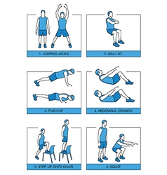 Set sport exercises 7 minutes vector image