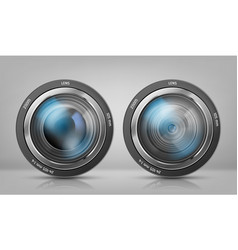 set with camera lenses zoom objectives vector image