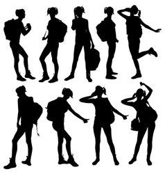silhouette of woman with backpack vector image