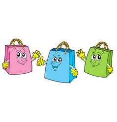 Smiling shopping bags vector