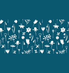 spring flowers green seamless pattern vector image