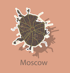 Sticker color map of moscow all objects are vector
