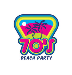 Sunset beach icon with palm tree perfect for tshi vector