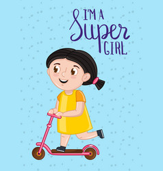 super girl kids postcard template vector image