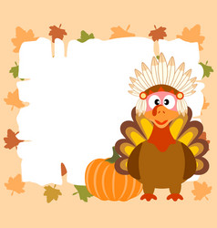 Thanskgiving background with turkey indian vector