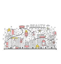 Thin line art beauty poster banner template vector