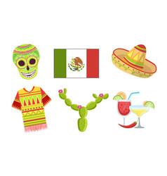 traditional cultural mexico symbols set sugar vector image
