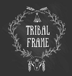 Tribal frame with with the head of a deer vector image