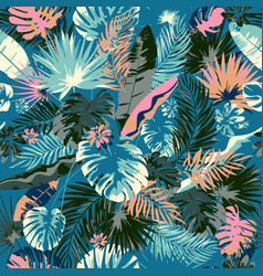 Tropical summer print with exotic leaves vector