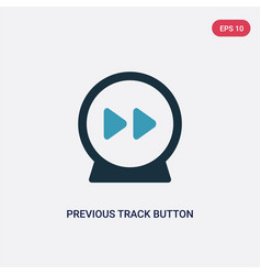 Two color previous track button icon from music vector