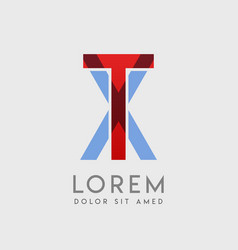 tx logo letters with blue and red gradation vector image