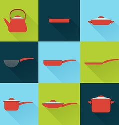 Utensil set in flat style with long shadow vector image
