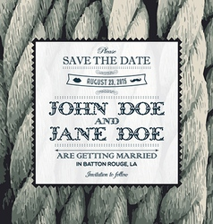 Wedding invitation rope vector image vector image