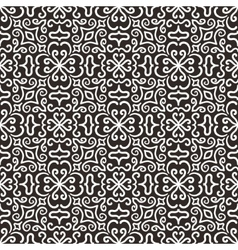 White graphic flower pattern on dark background vector image