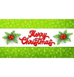 Xmas 3d lettering inscription and holly on green vector