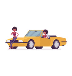 Young black woman near bright yellow cabriolet vector