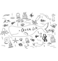 hand drawn set with ocean life cartoon cute vector image